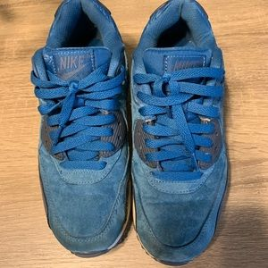 Nike Air Max 90 Blue Suede Size 7.5 Good Condition